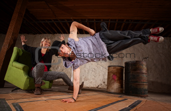 Hip Hop Dancer in Mid Air