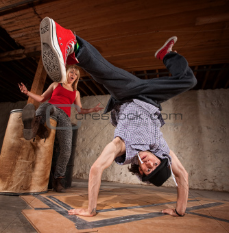 Break Dancer Does Upside Down Kick