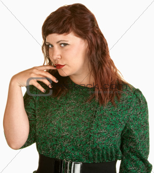 Skeptical Lady With Finger in Mouth