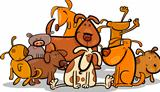 Cartoon Group of Cute Dogs