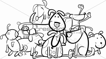 Cartoon Group of Dogs for Coloring