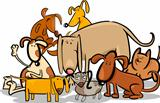 Cartoon Group of Funny Dogs