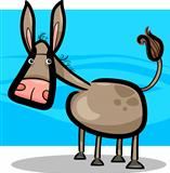 cartoon illustration of cute donkey