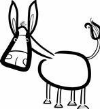 cartoon cute donkey for coloring book