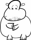 Hippo or Hippopotamus for coloring book