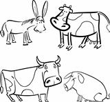 farm animals set for coloring
