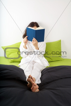 side red book on brown sofa background