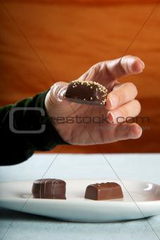 woman eating bonbon