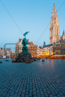 Brabo Grote Markt Antwerp Cathedral Blue Hour