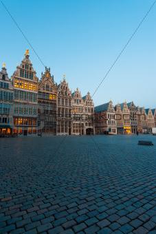 Grote Markt Guild Houses Antwerp Blue Hour