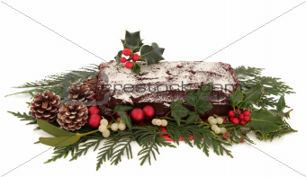 Yule Log Chocolate Cake