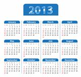 Blue glossy calendar for 2013