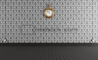 Old style room with vintage clock
