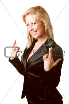 Businesswoman crossing her fingers