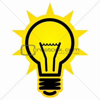 Shining light bulb icon