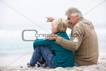 Grandfather And Son Sitting On Winter Beach Together