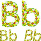 Vector font type letter B made from flower tulip