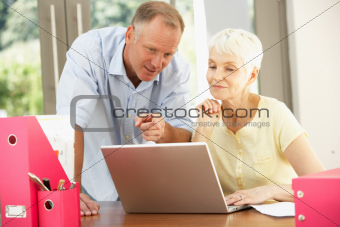 Adult Son And Senior Mother Using Laptop At Home