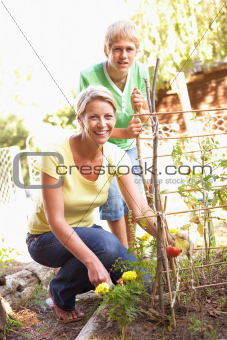 Mother And Teenage Son Relaxing In Garden