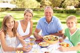 Family Enjoying Meal In Garden