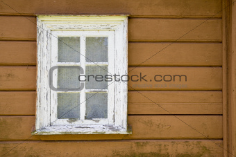 Aged house painted window with  curtains