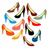 Women&#39;s shoes on a white background.