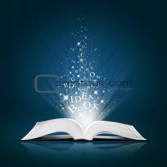 text idea in open white book