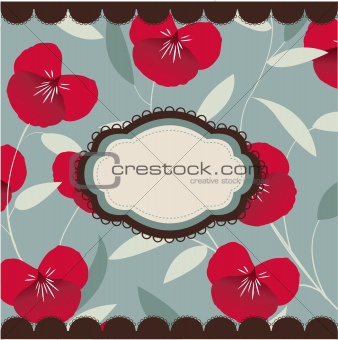 vintage floral card with frame