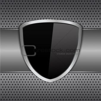 Black shielf on metal background