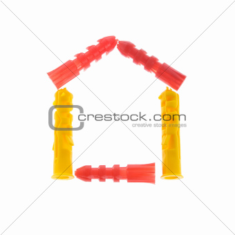House made of Dowels Isolated on White Background