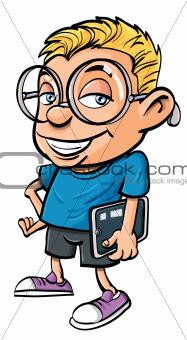 Cartoon nerd holding a tablet computer