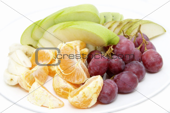 a plate of sliced fruit