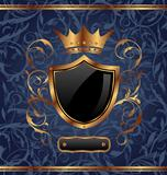 Golden vintage with heraldic elements (crown, shield), seamless