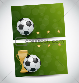 Football cards with champion cup and place for your text
