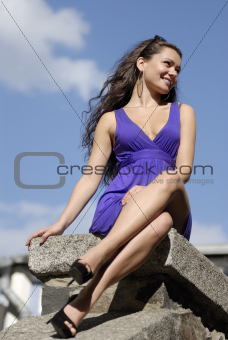 beautiful woman on a seafront