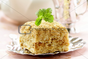 slices  cake of puff pastry  with mint