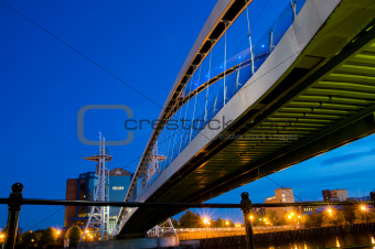 under the millennium bridge Manchester