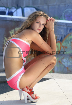 fashion model in bathing suit