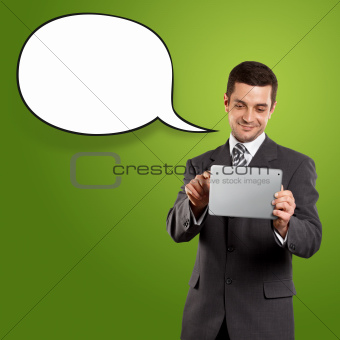 Business Man With Speech Bubble