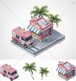 Vector isometric ice cream store and truck