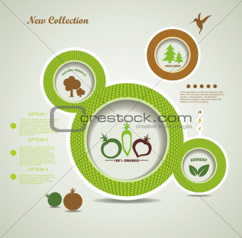 Set of organic and farm fresh food bubbles