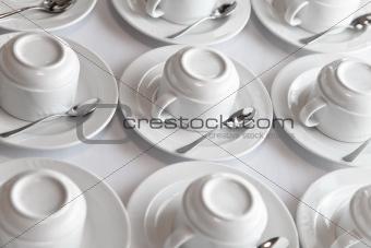 clean tea sets on table