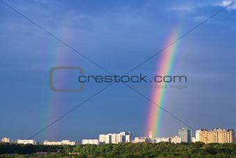 rainbows under city park