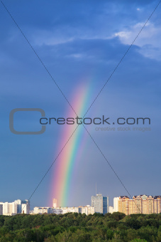 rainbows under city