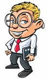 Cartoon cute nerdy office worker