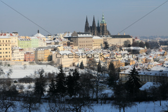 Prague castle Hradcany in winter