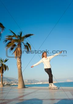 Beach promenade skating