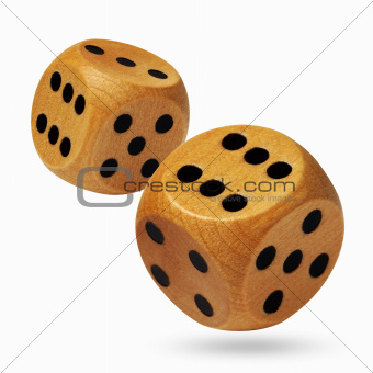 A pair of rolling dices isolated on white