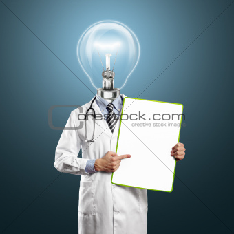 Lamp Head Doctor Man With Empty Board