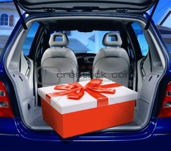 red present in a car
